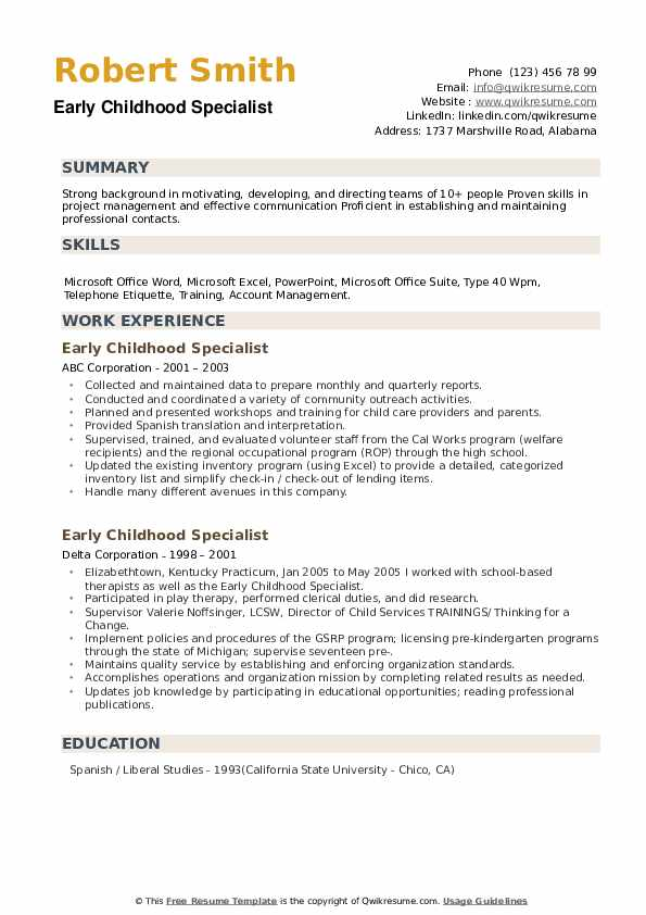 Early Childhood Specialist Resume example