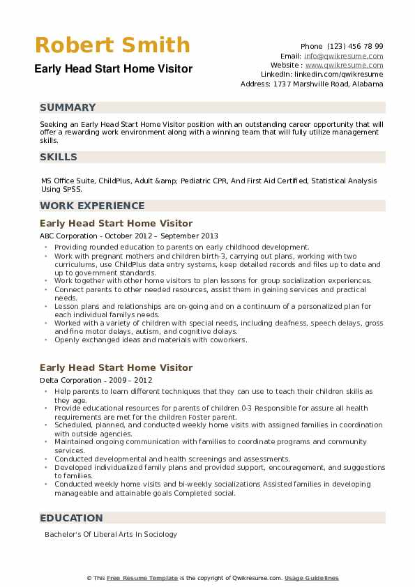Early Head Start Home Visitor Resume example