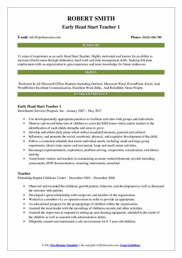 Early Head Start Teacher Resume Samples Qwikresume