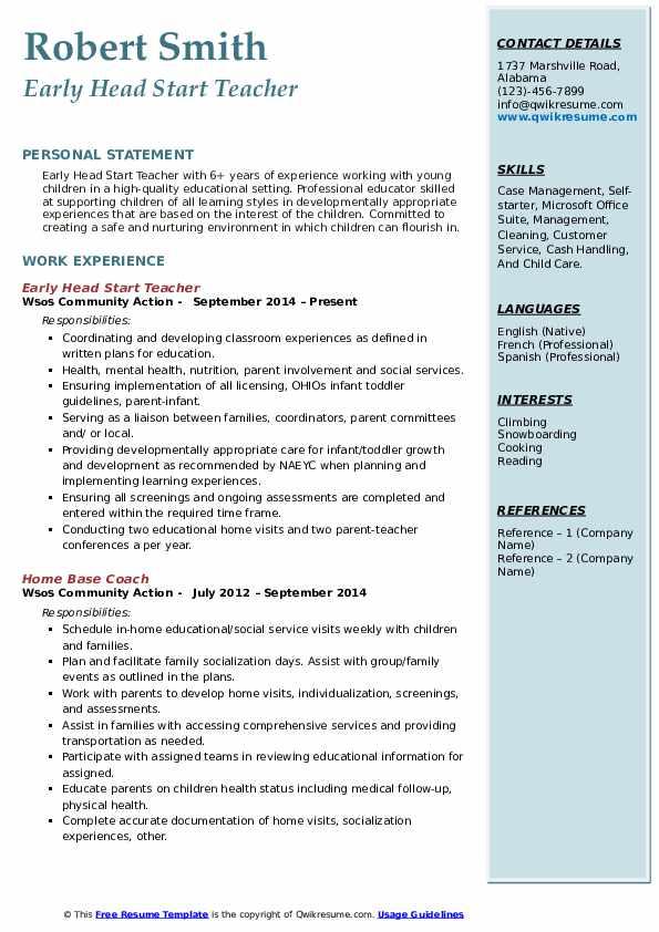 Early Head Start Teacher Resume Format