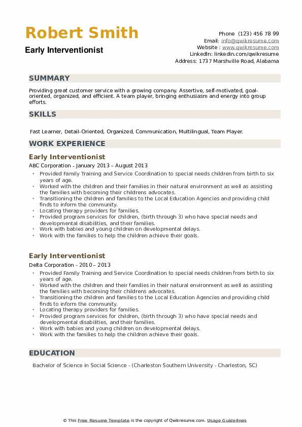 Early Interventionist Resume example