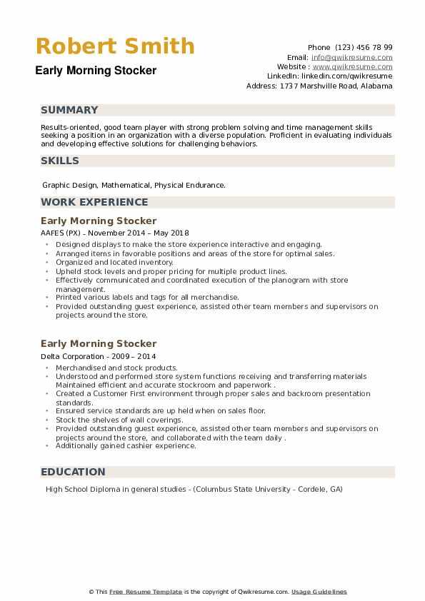 Early Morning Stocker Resume example