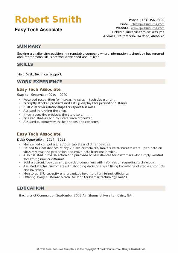 Easy Tech Associate Resume example