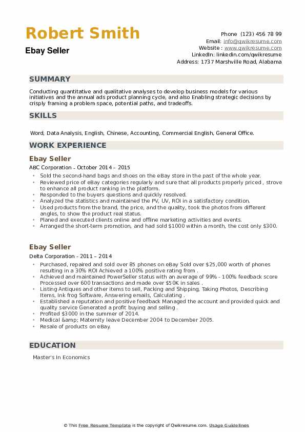 Ebay Seller Resume example