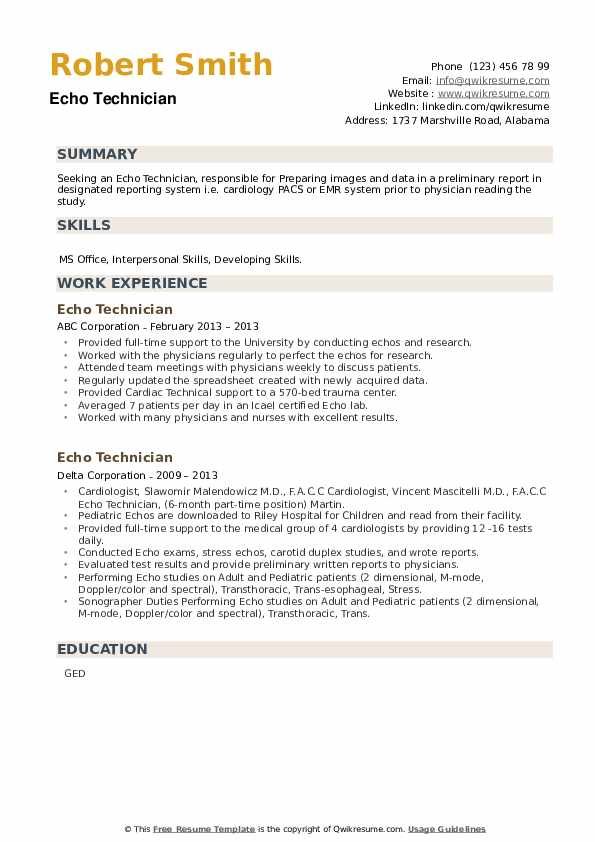 Echo Technician Resume example