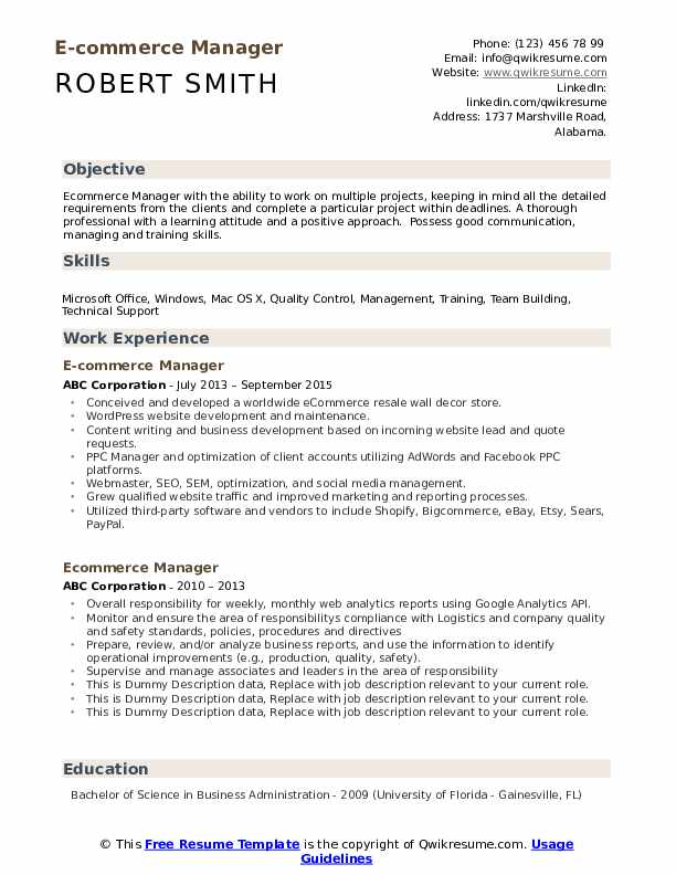 Ecommerce Manager Resume example