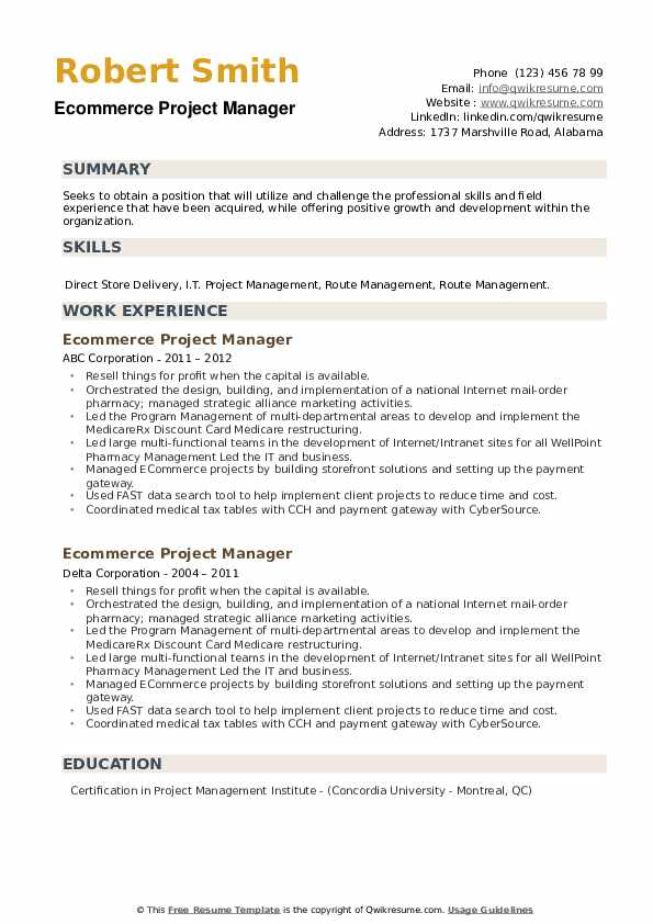 Ecommerce Project Manager Resume example