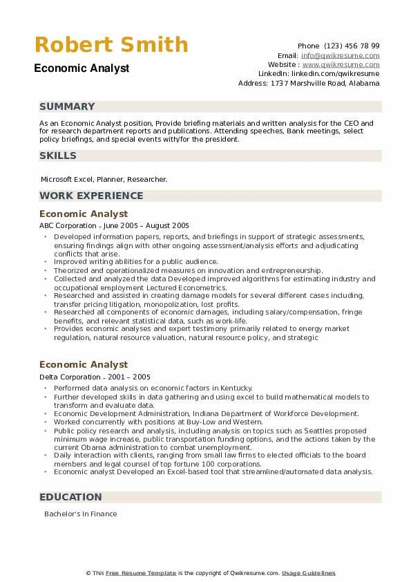 Economic Analyst Resume example