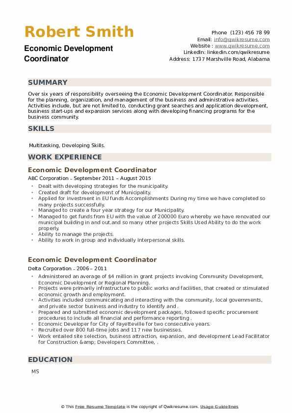 Economic Development Coordinator Resume example