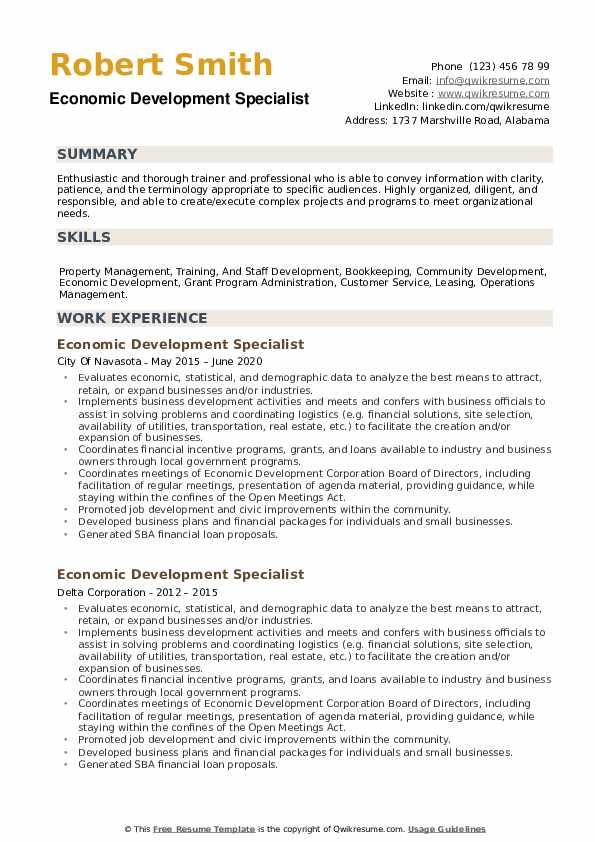 Economic Development Specialist Resume example