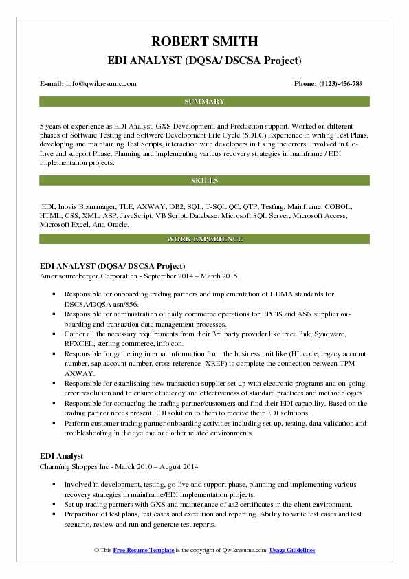 EDI ANALYST (DQSA/ DSCSA Project) Resume Example