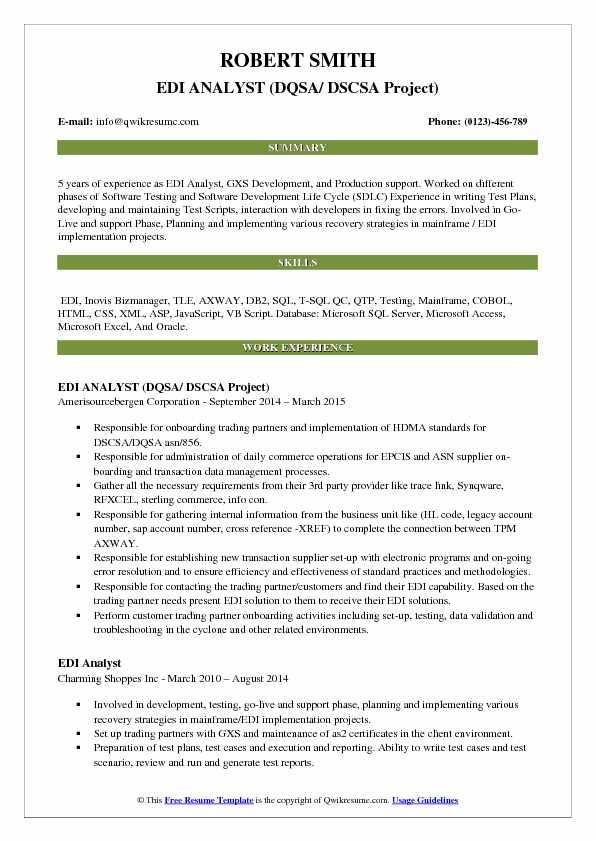 EDI ANALYST (DQSA/ DSCSA Project) Resume Template