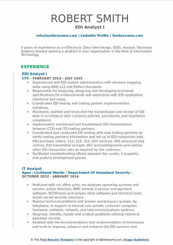 EDI Analyst Resume Samples | QwikResume