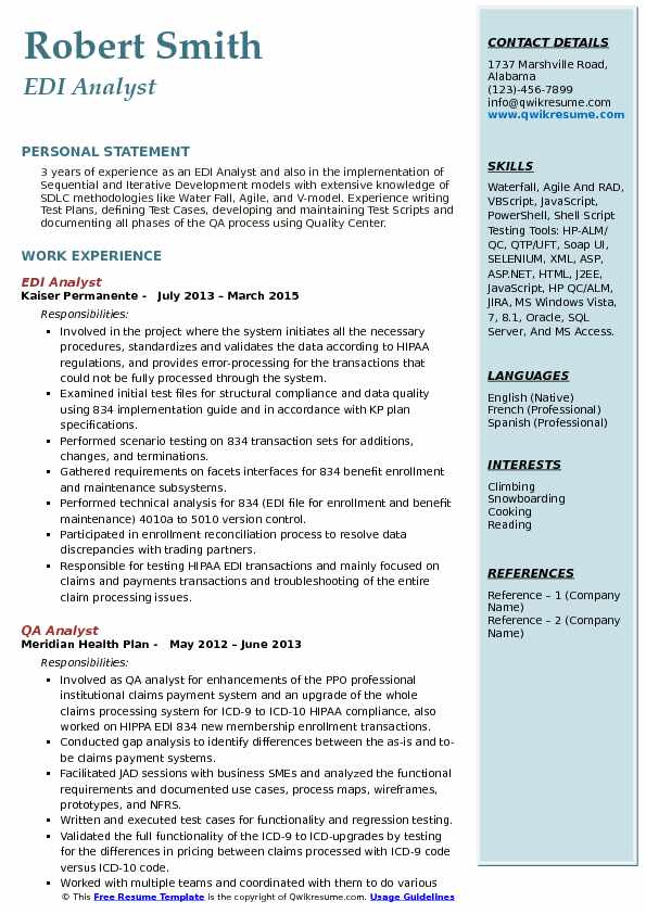 edi analyst resume samples