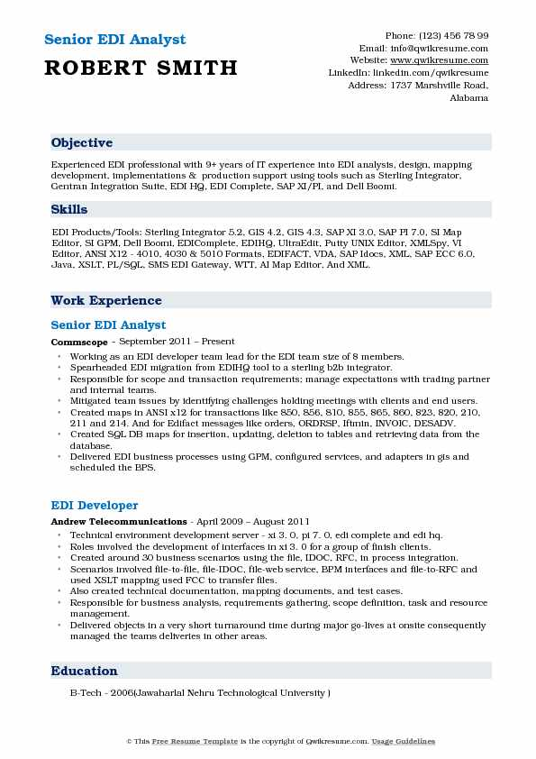 Senior EDI Analyst Resume Sample