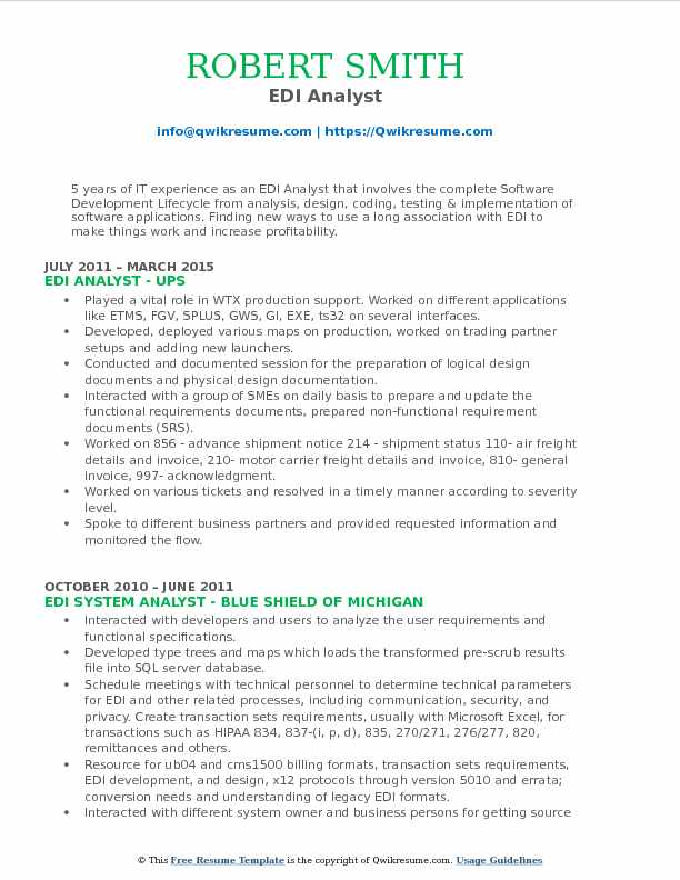 EDI Analyst Resume Model