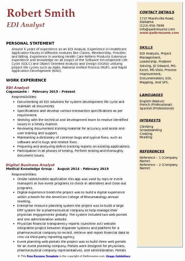 EDI Analyst Resume Template