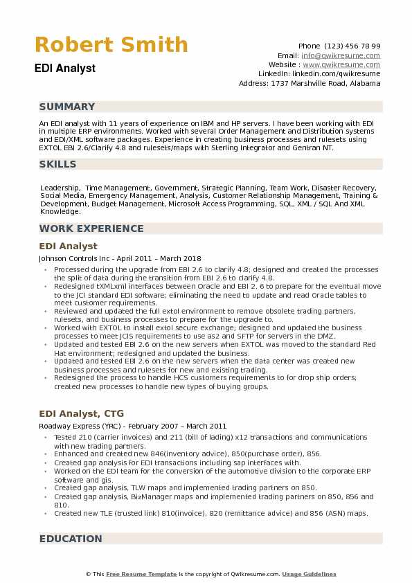 EDI Analyst Resume example