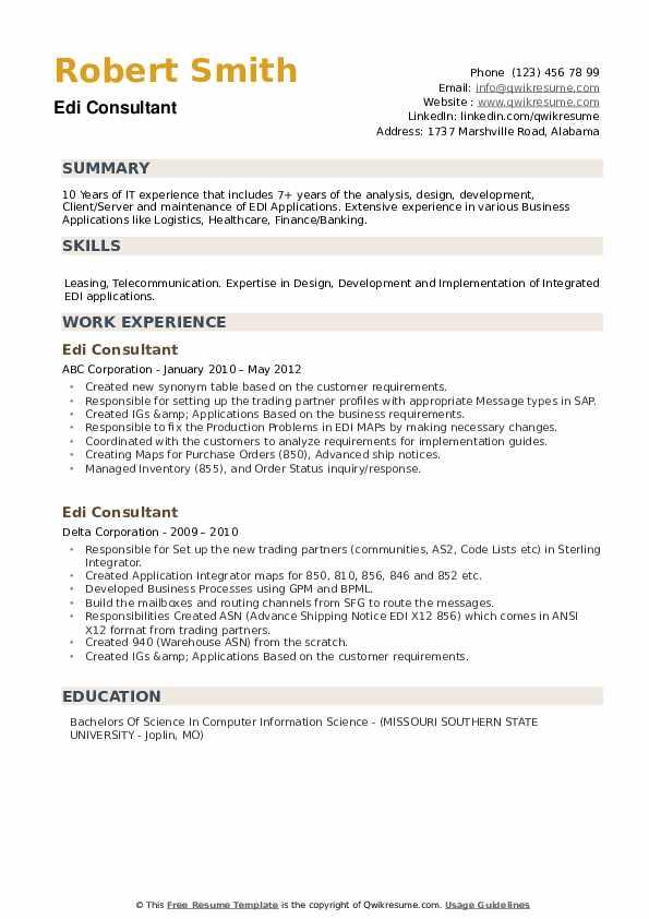 EDI Consultant Resume example