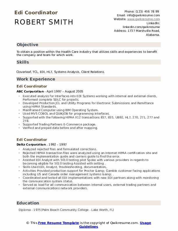 edi coordinator resume samples