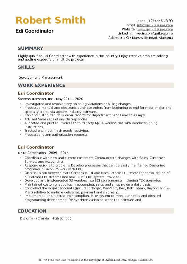 EDI Coordinator Resume example