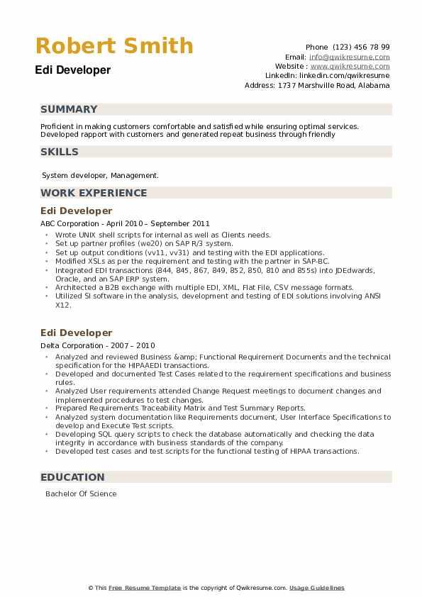 EDI Developer Resume example