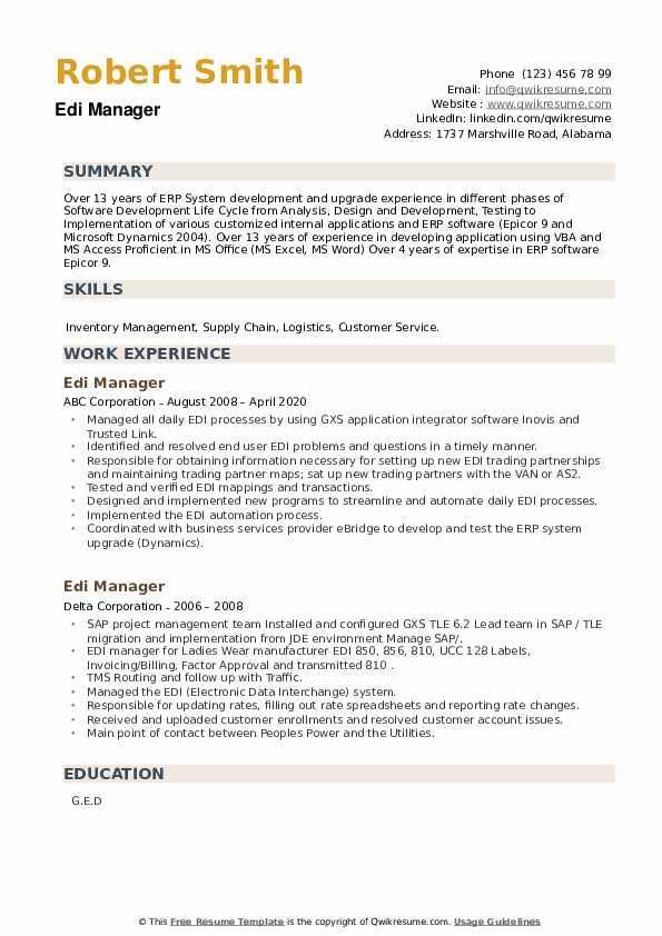 Edi Manager Resume example