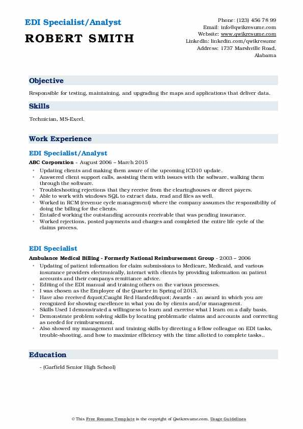 Edi Specialist Resume Samples Qwikresume
