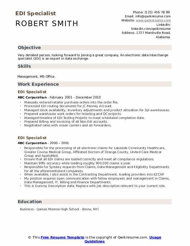 EDI Specialist Resume example
