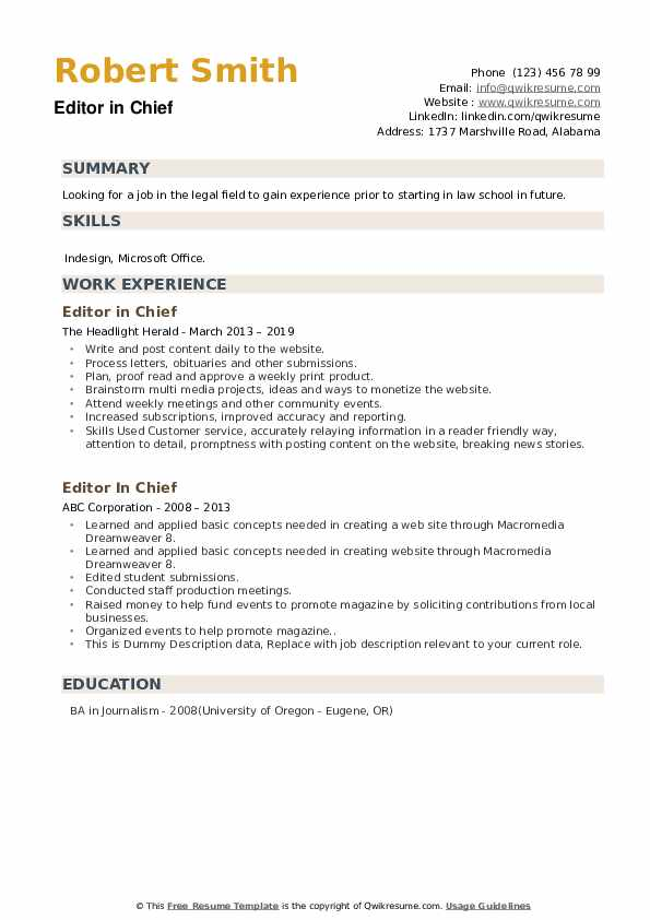 Editor In Chief Resume example