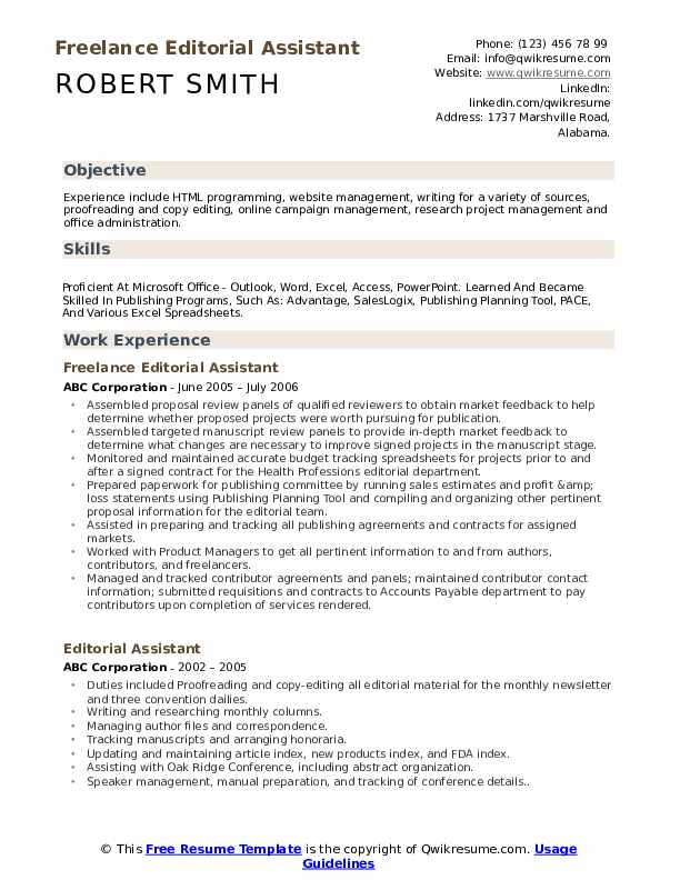 Freelance Editorial Assistant Resume Format