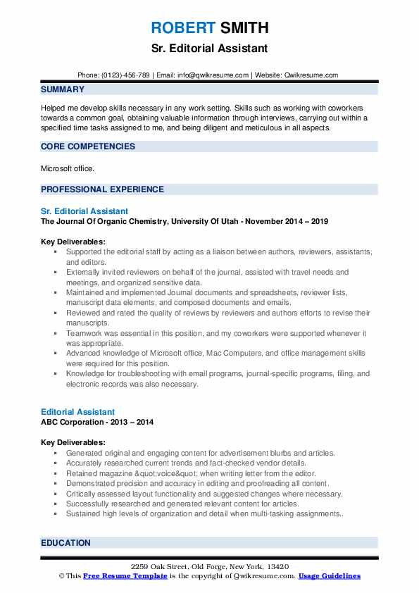 Sr. Editorial Assistant Resume Format
