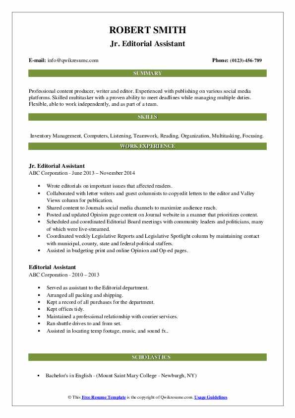 Jr. Editorial Assistant Resume Example