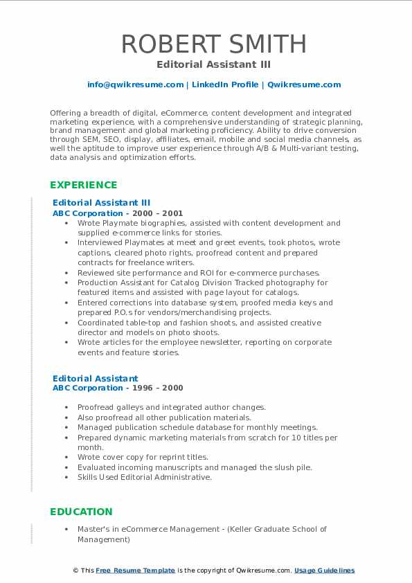 Editorial Assistant III Resume Template