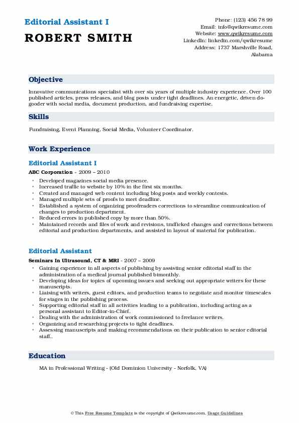 Editorial Assistant I Resume Sample