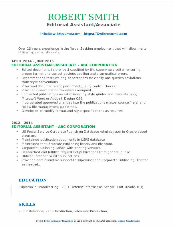 Editorial Assistant/Associate Resume Model
