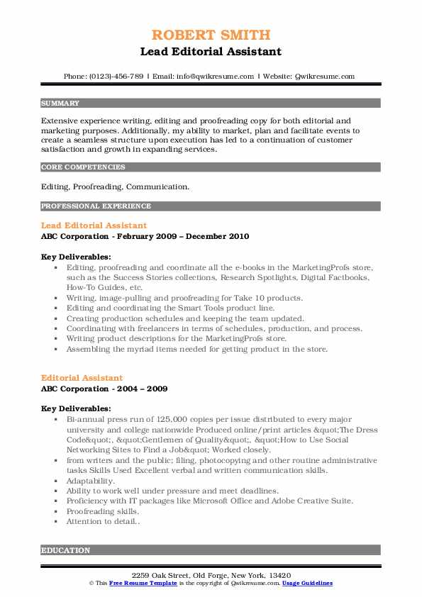 Lead Editorial Assistant Resume Template