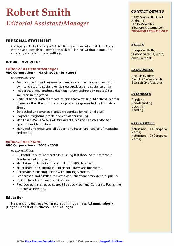 Editorial Assistant/Manager Resume Model
