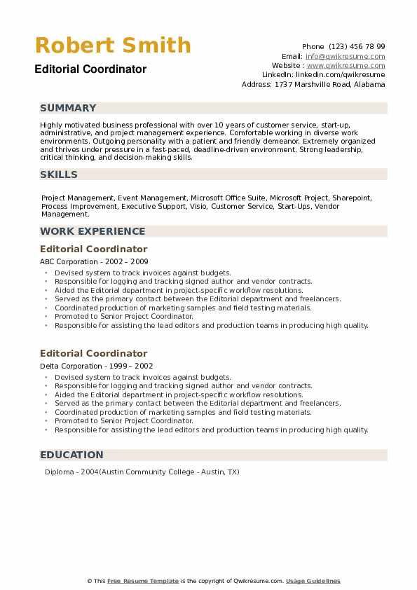 Editorial Coordinator Resume example