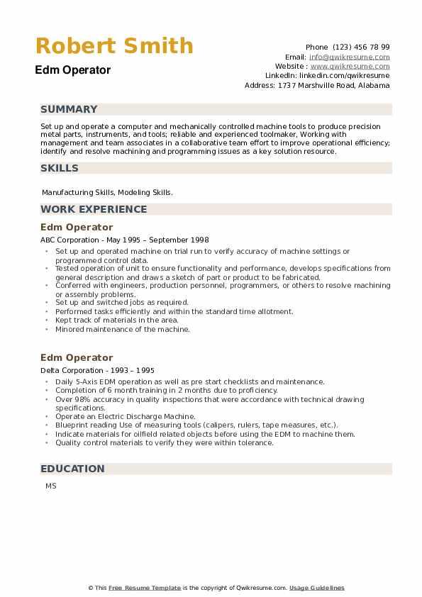 Edm Operator Resume example