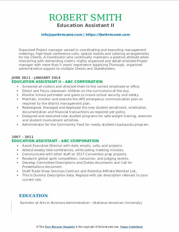 Education Assistant II Resume Example
