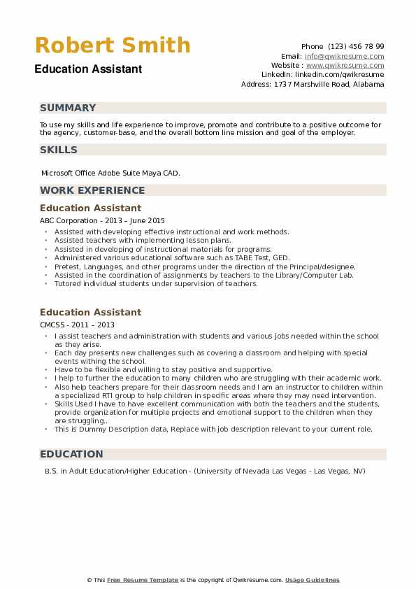 Education Assistant Resume example