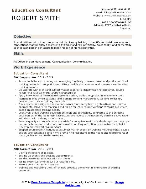 Education Consultant Resume Template