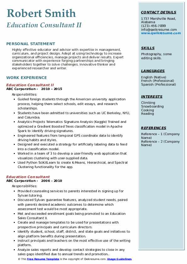 Education Consultant II Resume Template