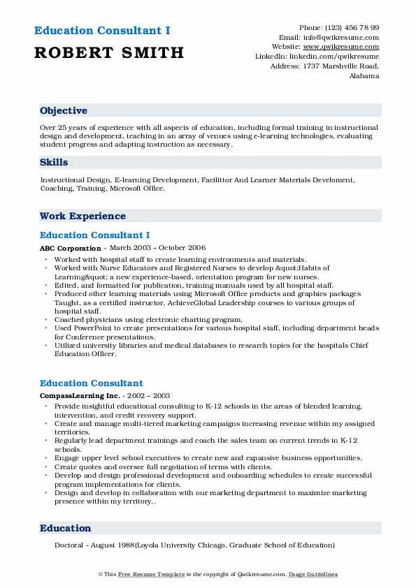 Education Consultant I Resume Example