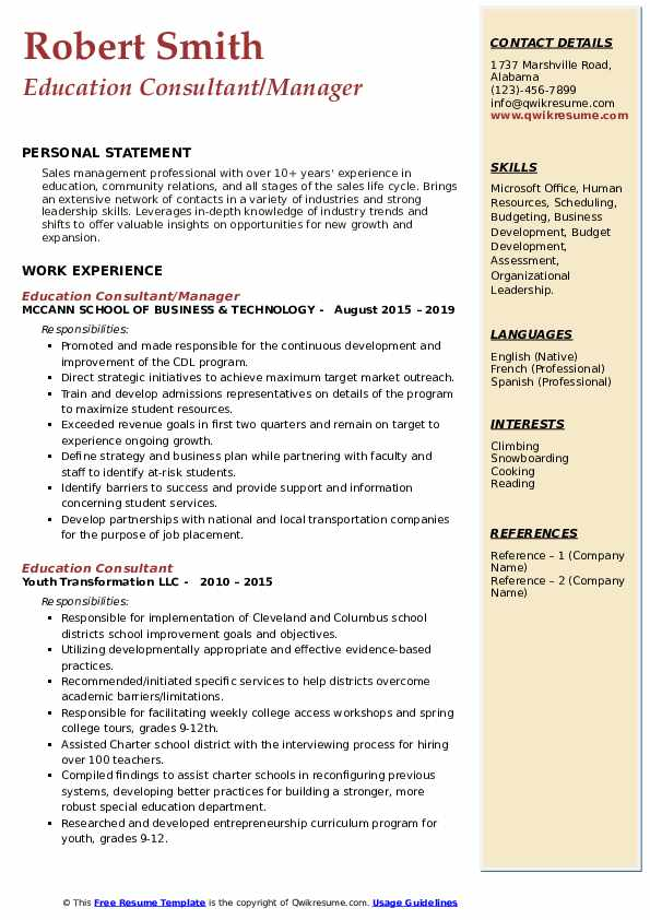 Education Consultant/Manager Resume Template