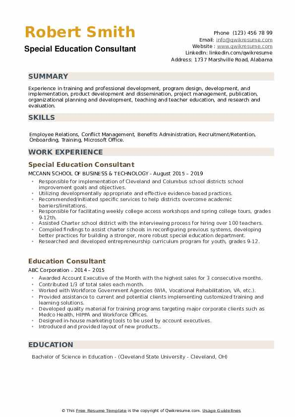 Special Education Consultant Resume Template