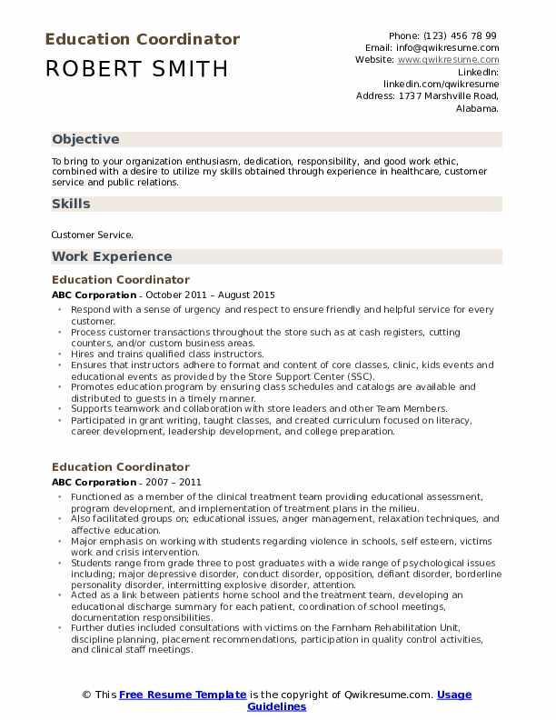 Education Coordinator Resume Samples Qwikresume