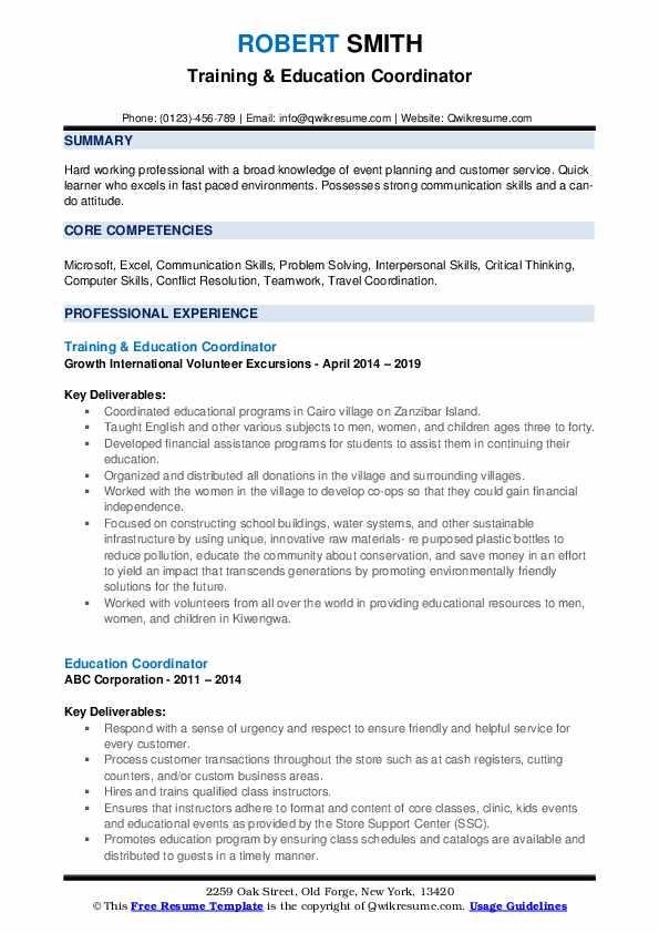 Training & Education Coordinator Resume Sample