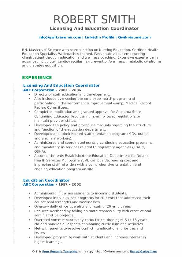 Licensing And Education Coordinator Resume Sample